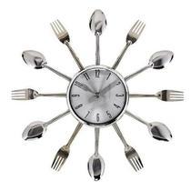 Relógio De Parede Talheres Garfo Colher Prata Cozinha - Exclusivo