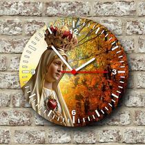 Relógio de parede tema catolico religioso nossa senhora de fátima - Armazem