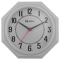 Relógio de parede tradicional analógico mecanismo step herweg cinza -