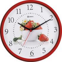 Relógio de Parede Vermelho Cozinha Morango Herweg 6693-269 -