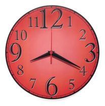 Relógio De Parede Vermelho Números Grandes Cozinha Sala 30cm - Relógil