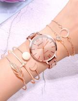 Relógio de Pulso Feminino Dourado Rose em Quartzo Acompanha 5 Pulseiras Kit Conjunto - Ge