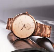 Relógio de Pulso Feminino Dourado Rose Pulseira Aço em Quartzo - Yolako