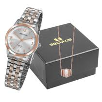 Relógio de Pulso Feminino Kit com Gargantilha 77009LPSVGA2K1 - Rosé e Prata - Seculus