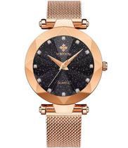 Relógio de Pulso Feminino Woor 8869 Dourado Rose Aço Inoxidável -
