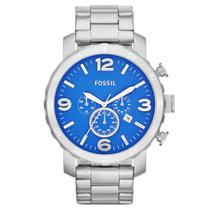 Relógio de Pulso Fossil Nate Chronograph Masculino JR1445/1AN - Prata -