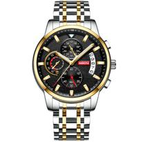 Relógio de Pulso NIBOSI Quartzo com Pulseira de Aço Inox Militar -