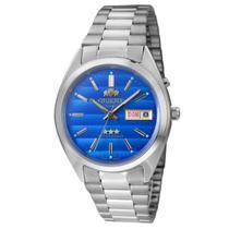 Relógio de Pulso Orient Automático Unissex 469WA3 A1SX - Prata com o Fundo Azul -