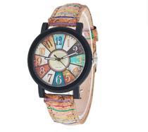 Relógio de Pulso Quartz Feminino de Couro Colorido -