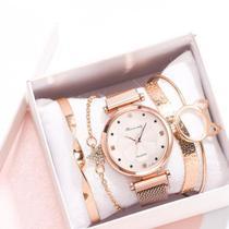 Relógio de Pulso Quartz Feminino De Pulseira Magnética Dourado Rosê e Kit de Pulseiras -