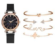 Relógio de Pulso Quartz Feminino De Pulseira Magnética Preto e Kit de Pulseiras -