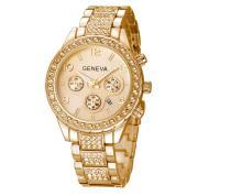 Relógio de Pulso Quartz Feminino Dourado com Pedras -