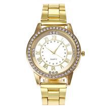 Relógio de Pulso Quartz Feminino Dourado Pedraria -