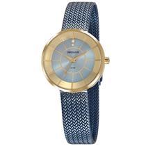 Relógio de Pulso Seculos Feminino com Pulseira Esteirinha 23681LPSVLS2 - Dourado e Azul - Seculus