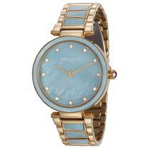 Relógio de Pulso Seculus Feminino 20592LPSVDS2 - Dourado Com Azul -