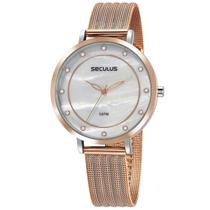Relógio de Pulso Seculus Feminino com Pulseira Esteirinha 77041LPSVGS2 - Prata e Rosé -