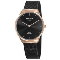 Relógio de Pulso Seculus Feminino Line Sapphire 35008GPSVIA1 - Rosé e Preto -