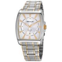 Relógio de Pulso Seculus Masculino Long Life Misto 23669GPSVBA2 - Prata e Dourado -