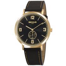 Relógio de Pulso Seculus Unissex com Pulseira de Couro 20763GPSVDC1 - Preto e Dourado -