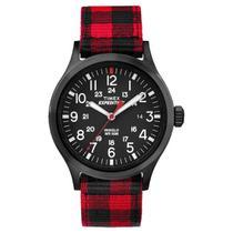 Relógio de Pulso Timex Indiglo Unissex com Pulseira de Nylon TW4B02000 - Xadrez Vermelho e Preto -