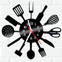 Relógio De Vinil Disco Lp Parede  Cozinha Casa Decoracao Talheres - Rb Criações