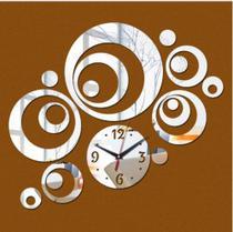Relógio Decorativo Bolas Argolas Sala Quarto Cozinha Prata - Agv Criações