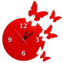 Relógio Decorativo Borboletas Acrílico Vermelho Sala Quarto - Agv Criações