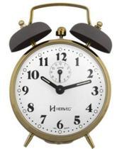 Relógio Despertador a Cordas Novo Retrô Cinza Dourado Herweg 2215 080 -