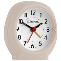 Relógio despertador analógico tradicional quartz  alarme sonoro mecanismo step herweg marrom areia -
