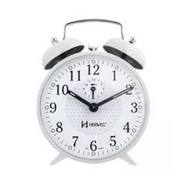 Relógio despertador com campainha branco antigo à corda - Herweg