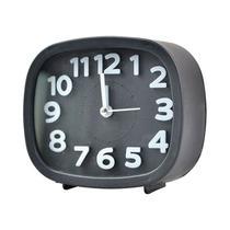 Relógio Despertador de Mesa Quadrado Preto - Art
