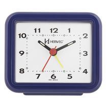 Relogio despertador decorativo tradicional retangular mecanismo step azul escuro herweg -