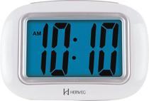 Relógio Despertador Digital Com Luz Noturna e Soneca - Herweg - Branco -