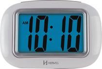 Relógio Despertador Digital Com Luz Noturna e Soneca - Herweg - Prata -