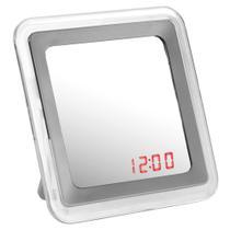Relógio  despertador espelhado quadrado prata  urban -