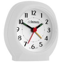 Relógio Despertador Herweg Quartz 2634-129 Branco Platina -