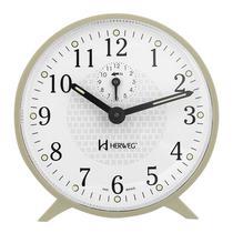 Relogio despertador mecanico basico alarme som campainha marfim herweg -