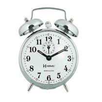 Relógio Despertador Mecânico Herweg Cromado Corda 2370-207 -