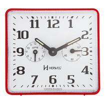 Relogio despertador  mecanico quadrado tradicional mesa  vermelho herweg -