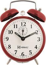 Relógio Despertador Mecânico Retrô - Analógico - Vermelho - Herweg -