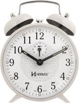Relógio Despertador Mecânico Retrô - Branco - Herweg -