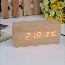 Relógio Despertador Mesa Digital Madeira Com Sound Control - -