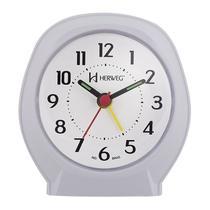 Relogio despertador tradicional alarme sonoro mecanismo step branco platinado herweg -