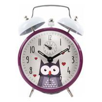 Relogio despertador  vintage retro decorativo coruja purpura herweg -