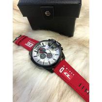 Relogio Diesel DZ4512 Pulseira de Nylon Vermelha cronografo -