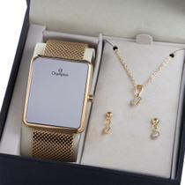 Relógio Digital Champion Dourado Espelhado Ch40080B -