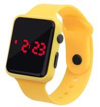 Relógio Digital De Led Quadrado Pulseira Bracelete Adulto Infantil Amarelo - Sm