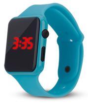Relógio Digital De Led Quadrado Pulseira Bracelete Adulto Infantil Azul bebê - sm