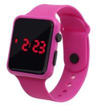 Relógio Digital De Led Quadrado Pulseira Bracelete Adulto Infantil Rosa - sm