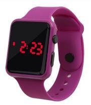 Relógio Digital De Led Quadrado Pulseira Bracelete Adulto Infantil Roxo Lilás - Sm